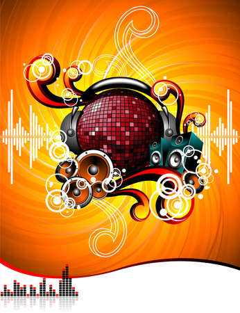 illustration for a musical theme with speakers and discoball on grunge background.
