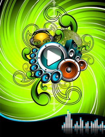 illustration for a musical theme with speakers and play button on grunge background. Vector