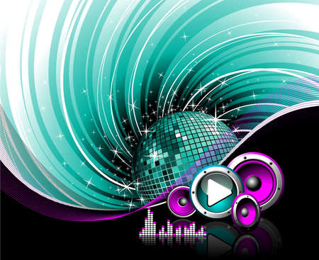graphic equalizer: illustration for a musical theme with speakers, discoball and play button on grunge background.