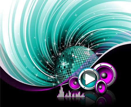 retro disco: Ilustraci�n de un tema musical con oradores, el bot�n sonar y el juego de fondo de grunge.  Vectores
