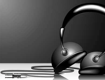 illustration for musical theme with headphone on black background. Vector