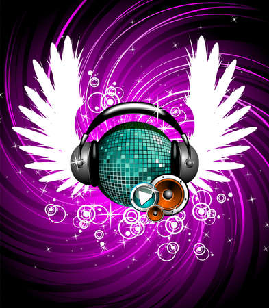 audifonos dj: Ilustración de un tema musical con alas y bola de disco.  Vectores