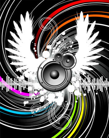 Illustration for a musical theme with speakers and wings.