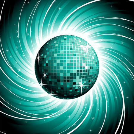 disco ball on shiny blue grunge background. Vector