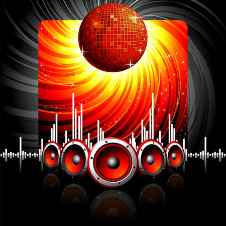 Illustration for a musical theme with speakers and disco ball. Vector