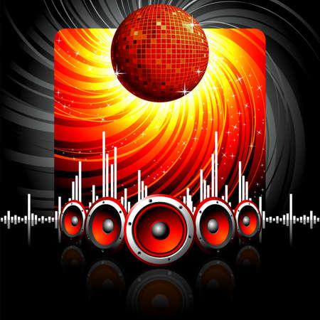 retro disco: Ilustraci�n de un tema musical con altavoces y bola de disco.