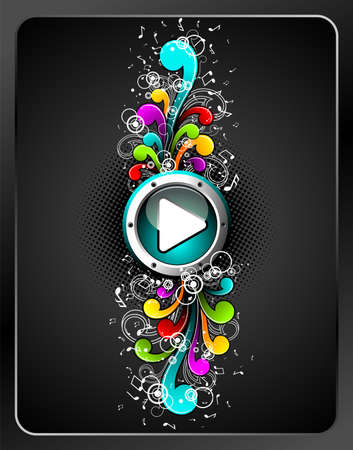 shiny play button with colorfull grunge floral elements on a dark background. Vector
