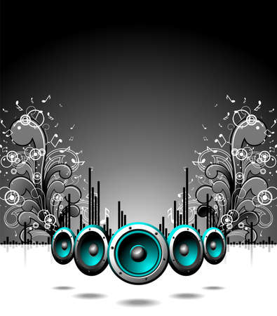speakers with grunge floral elements on a dark background. Stock Vector - 7385556