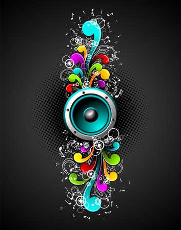 altoparlanti con colorfull grunge elementi floreali su uno sfondo scuro.
