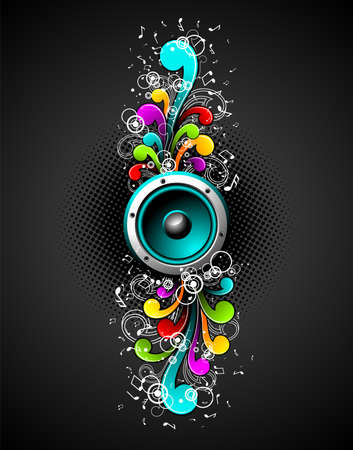 speakers with colorfull grunge floral elements on a dark background.
