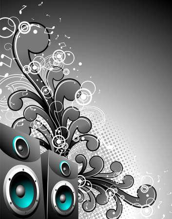 speaker box: cuadro de altavoz con elementos florales de grunge sobre un fondo oscuro.  Vectores