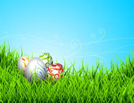 Easter illustration with color painted eggs on spring background Illustration