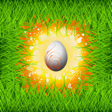 Easter illustration with color painted egg on spring background. Vector