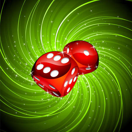 roulette game: gambling illustration with two red dices on grunge background.