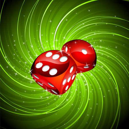 ruleta de casino: Ilustración con dos dices rojos sobre fondo de grunge de juegos de azar.  Vectores