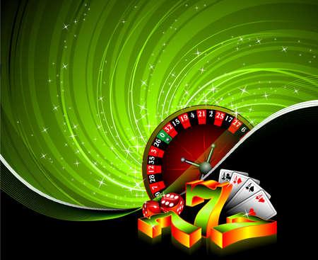 ruleta de casino: Ilustración con elementos de casino sobre fondo de grunge de juegos de azar.