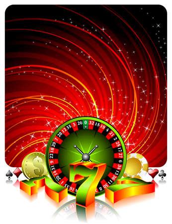 gambling illustration with casino elements on grunge background. Illustration