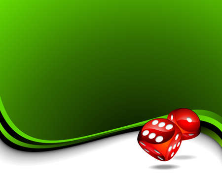 background with two red dices for a casino theme. Vector