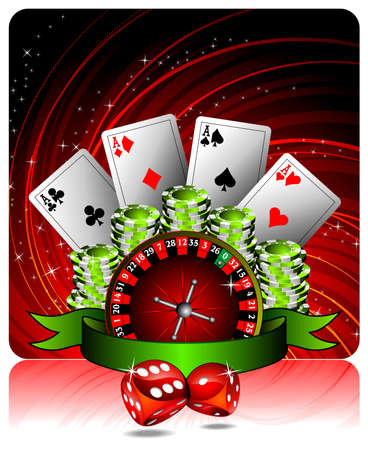 roulette: gambling illustration with casino elements and ribbon Illustration