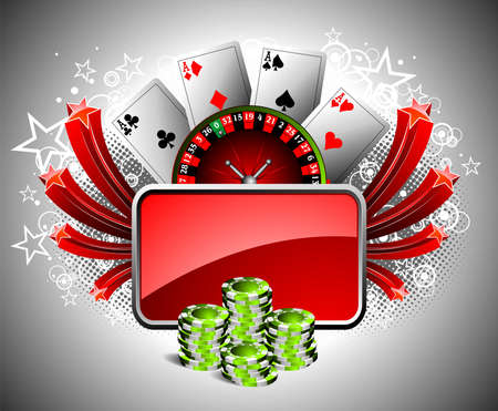 jackpot:  illustration on a casino theme with roulette wheel, playing cards and poker chips.
