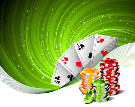 cartas de poker: Ilustraci�n sobre un tema de casino con juegos de cartas y fichas de p�quer.  Vectores