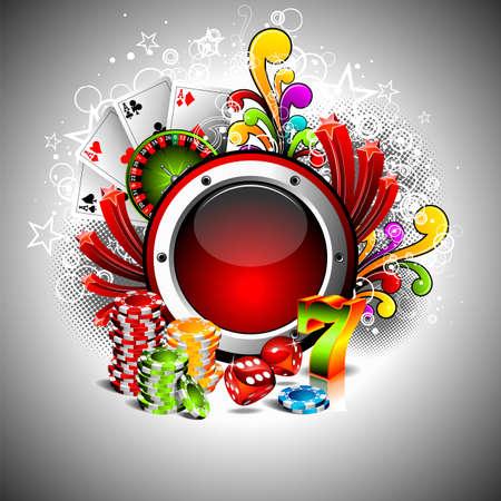 fichas casino: Ilustraci�n sobre un tema de casino con espacio para el texto.