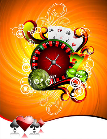 illustration on a casino theme with roulette wheel, playing cards and dices. Vector
