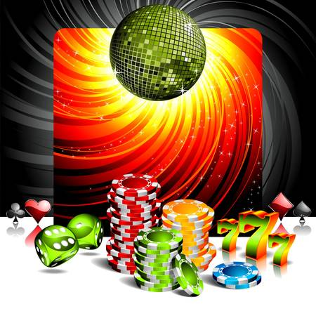 illustration on a casino theme with disco ball and poker chips. Vector