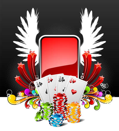 illustration on a casino theme with playing cards and poker chips. Vector