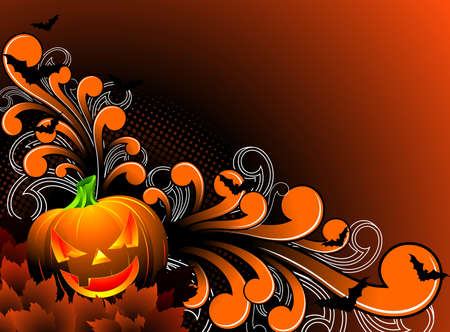 illustration on a Halloween theme with pumpkin Vector