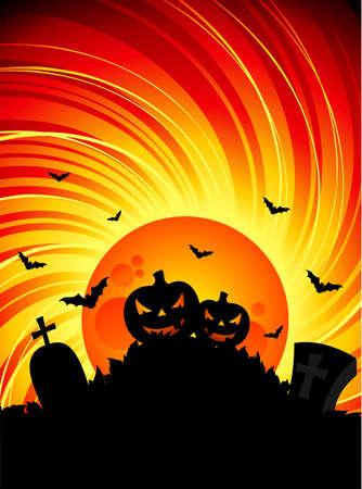 illustration on a Halloween theme with pumpkins illustration