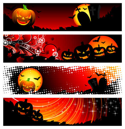 four  banner on a Halloween theme  photo