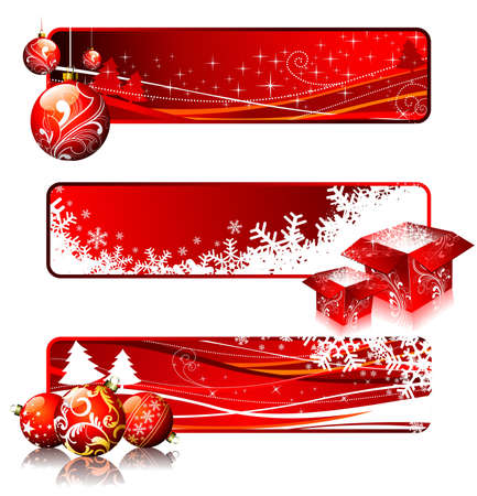 Three  banner illustrations on a Christmas theme. Vector