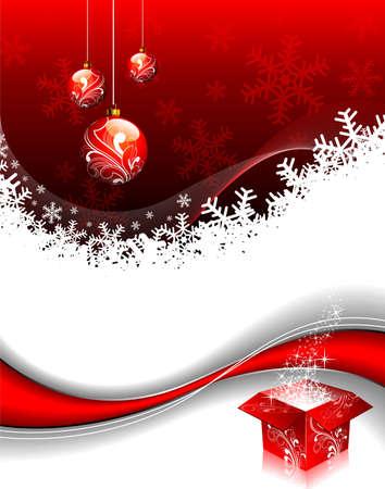 twirl:  Christmas illustration with gift box and shiny glass ball.