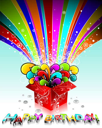 Happy Birthday illustration wit magic gift box. Vector