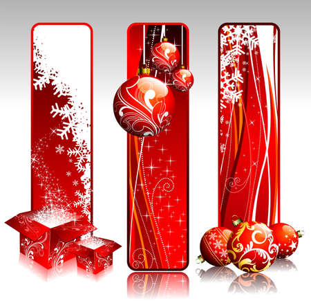 Three vertical banners illustration on a Christmas theme. Vector
