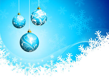 Christmas illustration with glass balls on blue background. Vector