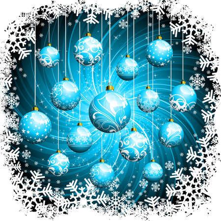 newyear card:  Christmas illustration with glass balls.