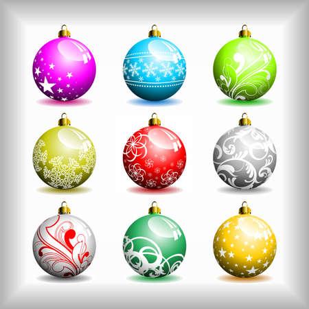 Nine different   Christmas bubbles. Vector