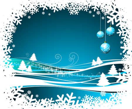 Christmas illustration with glass balls on winter background. Zdjęcie Seryjne - 7455688