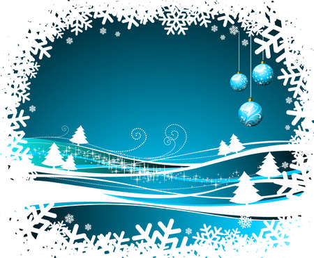 Christmas illustration with glass balls on winter background. Stock Vector - 7455688