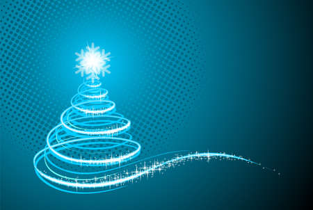 holiday illustration with shiny abstract Christmas tree on blue background. Illustration
