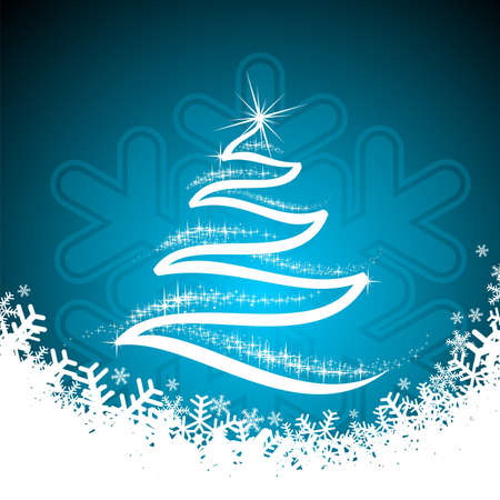 christmas tree illustration:   holiday illustration with shiny abstract Christmas tree on blue background.