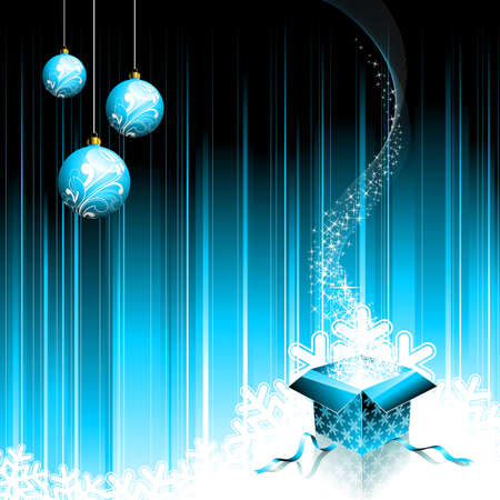 Christmas illustration with magic gift box and glass ball on blue background. Zdjęcie Seryjne - 7455714