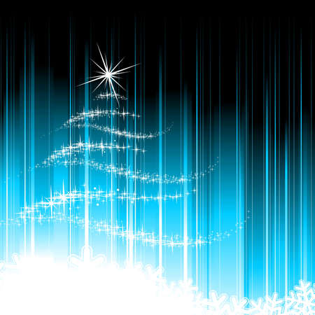 christmas tree illustration:   Holiday illustration with abstract christmas tree on blue background.
