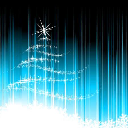 elemento: Holiday illustrazione con albero di Natale astratta su sfondo blu.