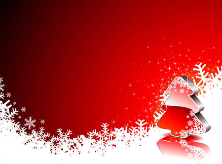 holiday illustration with shiny 3d Christmas tree on red background.