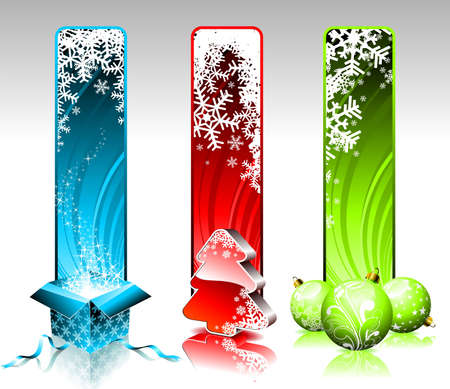 Ilustración de Navidad con tres banners verticales diferentes sobre fondo blanco.