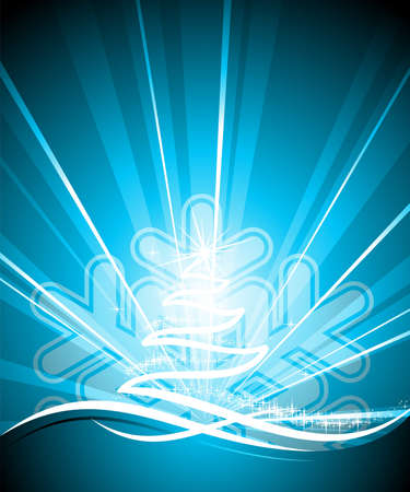 holiday illustration with shiny abstract Christmas tree on blue background. Zdjęcie Seryjne - 7455677