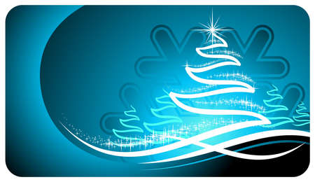 holiday illustration with shiny abstract Christmas tree on blue background. Ilustracja